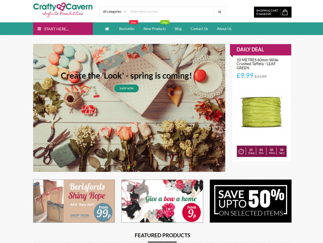 Crafty Cavern E-Commerce Website