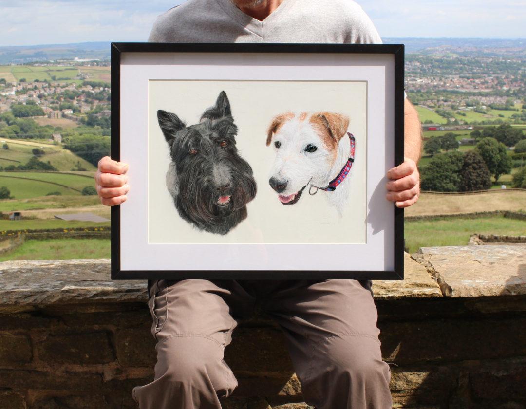 Canine – Double portrait, Colour Pencil